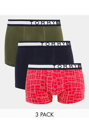 Tommy Hilfiger 3 pack trunks with side logo waistband in multi