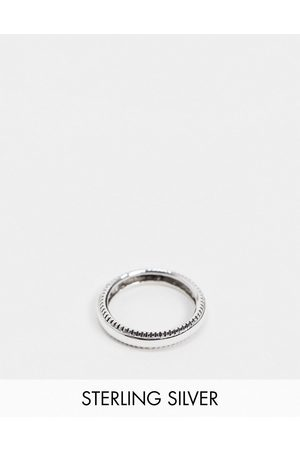 ASOS DESIGN Sterling band ring with textured edge in burnished