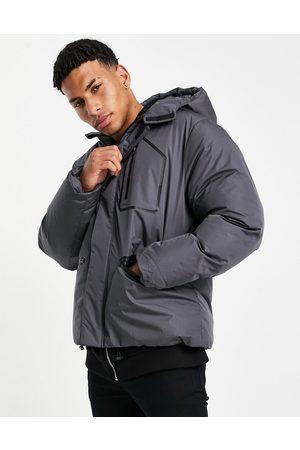 ASOS Waterproof puffer jacket in charcoal