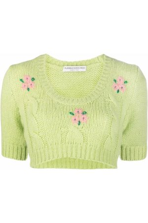 Alessandra Rich Women Crop Tops - Embroidered cable-knit crop top
