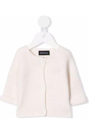 MONNALISA Baby Cardigans - Embroidered-logo knit cardigan