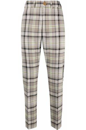 Vivienne Westwood Women Pants - Check print cropped trousers