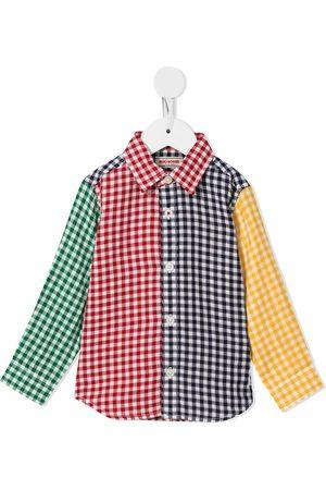 Miki House Colour-block check shirt