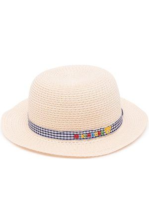 Miki House Gingham-trim straw hat
