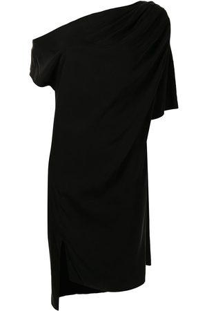 Lisa von Tang Drapery asymmetric midi dress