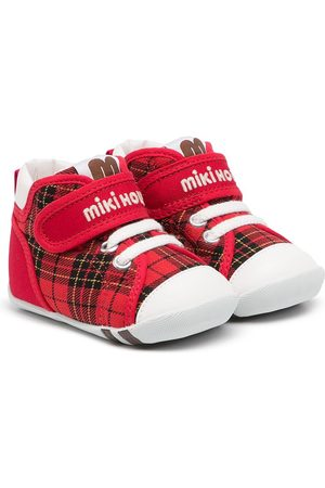 Miki House Baby Sneakers - Tartan touch-strap sneakers