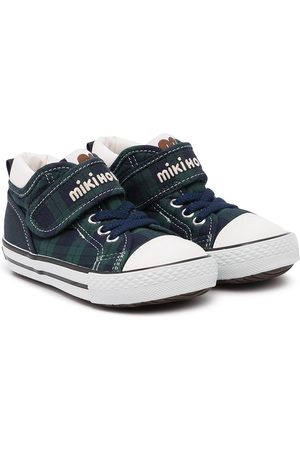Miki House Checked touch-strap sneakers