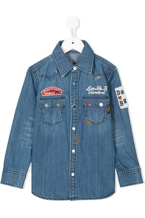 Miki House Patch embroidered denim shirt