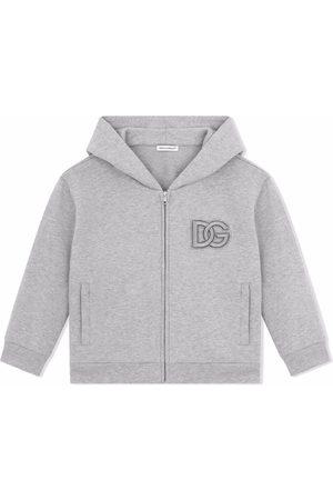 Dolce & Gabbana Boys Hoodies - Logo-embroidered cotton hoodie
