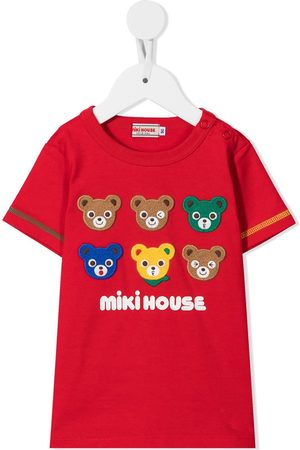 Miki House Boys Short Sleeve - Embroidered cotton T-shirt