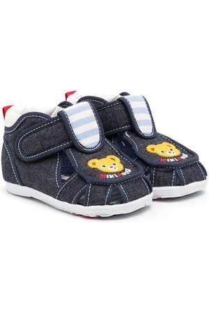 Miki House Teddy bear denim sandals