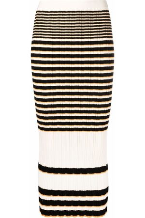 THEORY Stripe-print knitted skirt