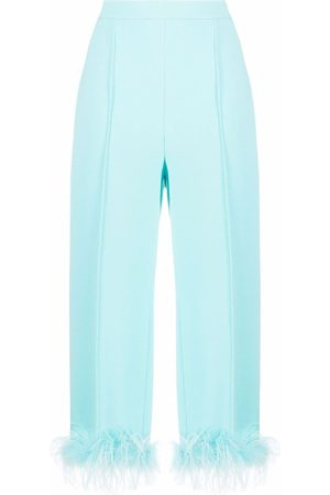Styland Feather-detail cropped trousers