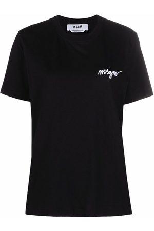 Msgm Women Short Sleeve - Chest-logo crewneck T-shirt