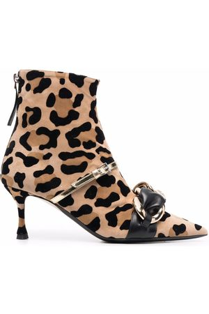 Nº21 Chain-link leopard-print ankle boots
