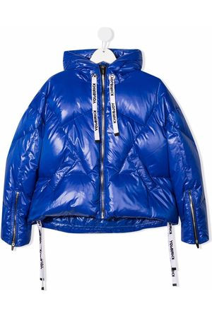 Khrisjoy KIDS Metallic puffer hooded jacket