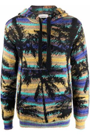 LANEUS Men Sweatshirts - Palm tree-motif knitted hoodie