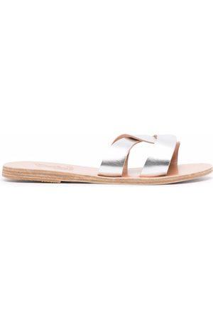 Ancient Greek Sandals Women Sandals - Metallic leather-strap sandals