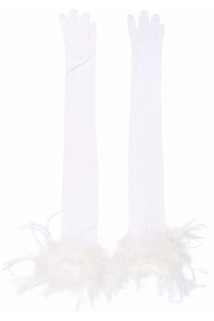 Styland Women Gloves - Feather-trim long gloves