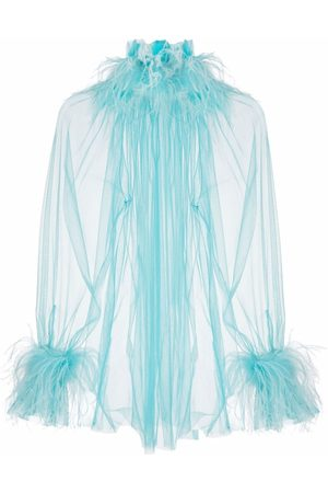 Styland Women Blouses - Feather-trim sheer blouse