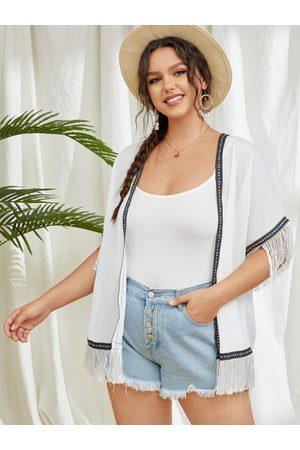 YOINS Plus Size Tribal Semi Sheer Tassel Details Short Sleeves Kimono