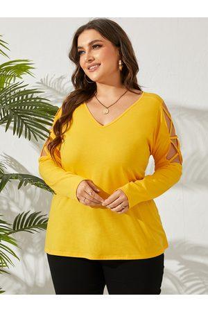 YOINS Women Long Sleeve - Plus Size V-neck Criss-Cross Long Sleeves Tee