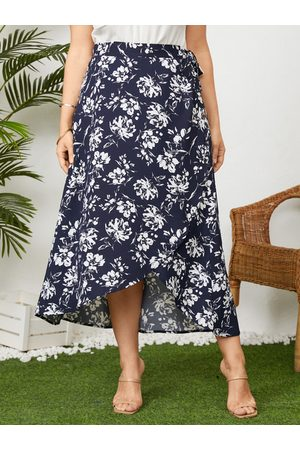 YOINS Women Printed Skirts - Plus Size Floral Print Tie-up Design Skirt
