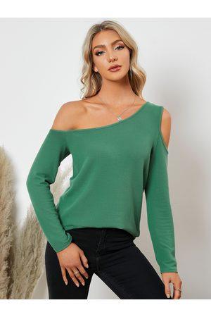YOINS Women Long Sleeve - Cut Out Design One Shoulder Long Sleeves Tee