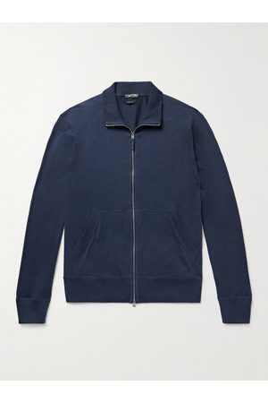 Tom Ford Men Jumpers - Cotton, Silk and Cashmere-Blend Jersey Zip-Up Sweater