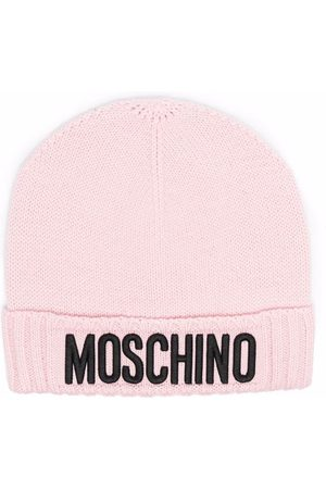 Moschino Boys Beanies - Logo-patch knitted beanie
