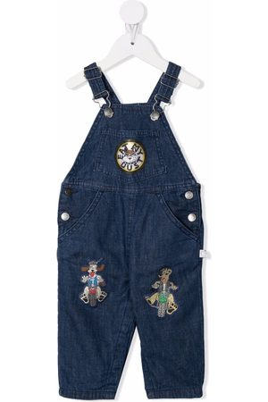 Stella McCartney Girls Dungarees - Embroidered patch denim dungarees