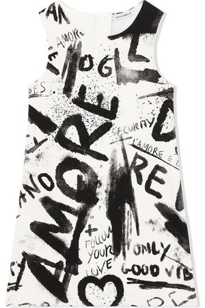 Dolce & Gabbana Girls Casual Dresses - Graffiti-print shift dress