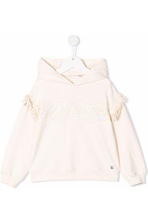 ERMANNO SCERVINO JUNIOR Fringe-detail pullover hoodie