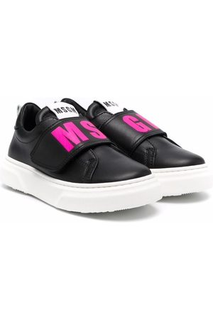 Msgm Boys Sneakers - Logo-print eco-leather trainers