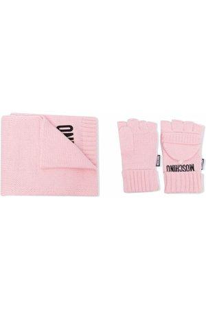 Moschino Logo-knit scarf set