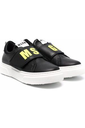 Msgm TEEN logo-print eco-leather trainers