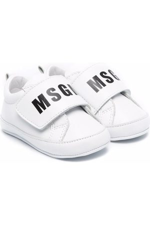 Msgm Baby Sneakers - Logo-print eco-leather trainers