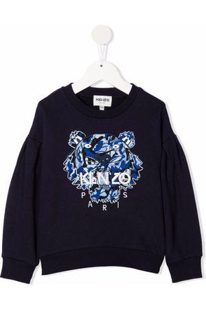 Kenzo Boys Sweatshirts - Tiger-embroidered rib-trimmed sweatshirt