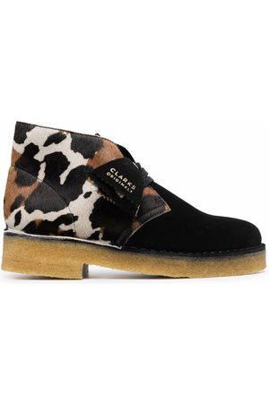 Clarks Animal-print leather ankle boots