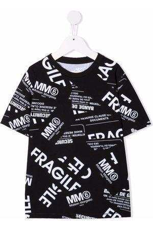 MM6 KIDS Boys Short Sleeve - Fragile-print stretch-cotton T-shirt