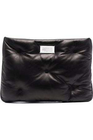 Maison Margiela Logo-plaque padded leather clutch bag