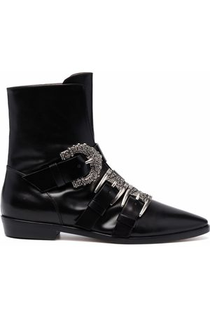Etro Women Ankle Boots - Decorative side-buckle ankle boots