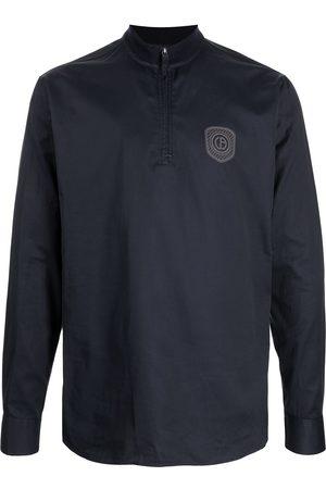 Armani Men Hoodies - Logo-patch zip-up shirt