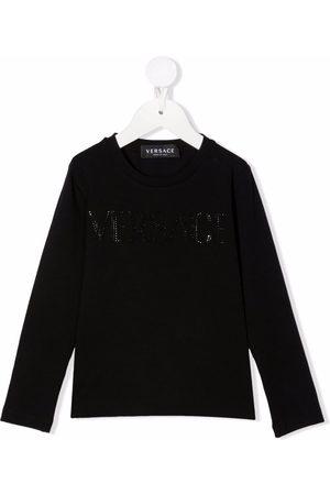 VERSACE Gem-embellished round neck jumper