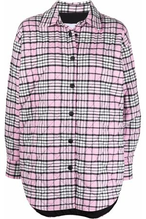Msgm Women Shirts - Quilted check shirt jacket