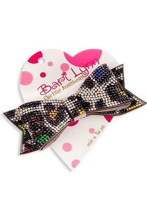 Bari Lynn Girl's Leopard-Print Double Crystal-Embellished Bow
