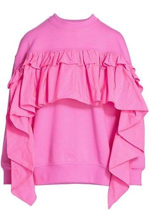 RED Valentino Taffeta Ruffle Sweatshirt