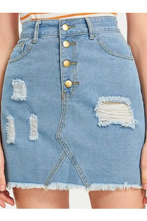 YOINS Blue Random Ripped Tassel Hem Denim Mini Skirt