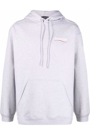 Balenciaga Men Sweatshirts - Embroidered-logo drawstring hoodie
