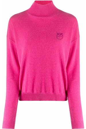 Pinko Logo-embroidered roll neck jumper